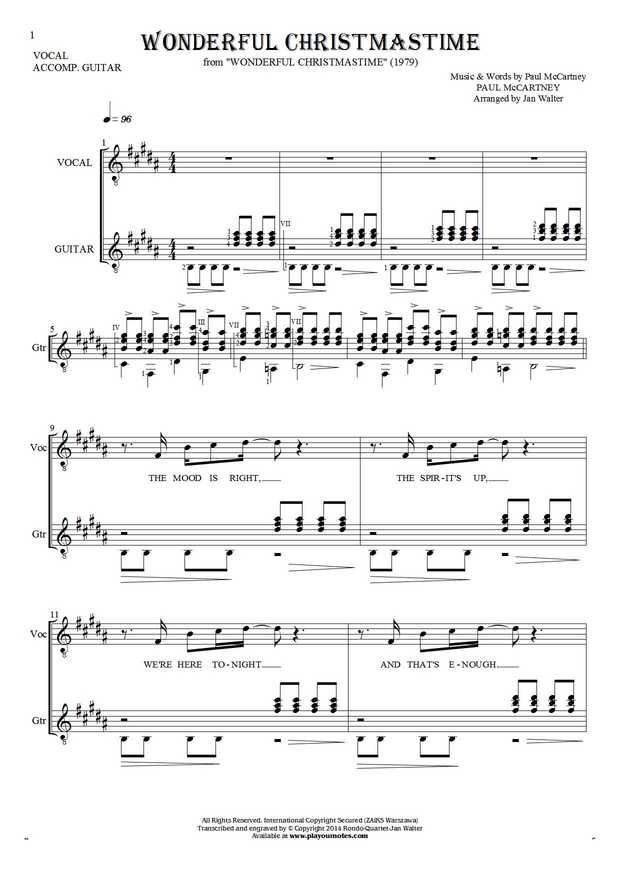 """Wonderful Christmastime"" is a very distinctive song associated with Christmas. Although considered by many critics as one of the worst Paul McCartney compositions, however for many years is very popular all over the world. Many other artists too eager included it into his repertoire. We present here the development of the melodic line with accompaniment guitar or other harmonic instrument."