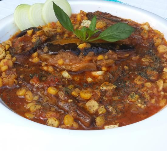 My Mom's Lebanese Moussaka (maghmour).  A velvety vegetarian eggplant stew with chickpeas, garlic , onions, tomatoes and dried mint. image 1
