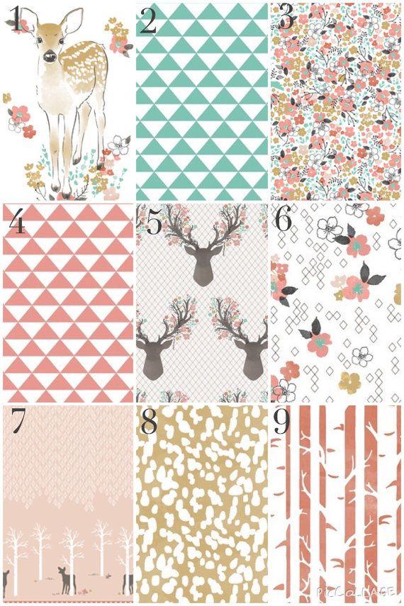 Custom Crib Bedding - Modern Woodland Baby Girl, Deer, Coral, Aqua, Gold