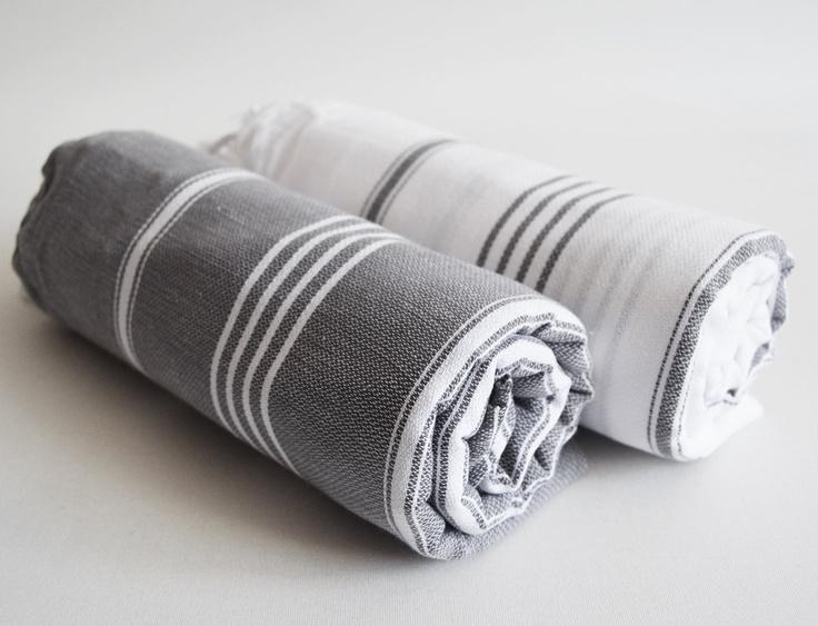 set 2 piece turkish bath towel classic peshtemal gray and white gray and white striped. Black Bedroom Furniture Sets. Home Design Ideas