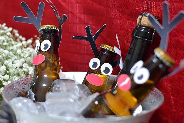 Navidad: Cervezas decoradas como Renos.