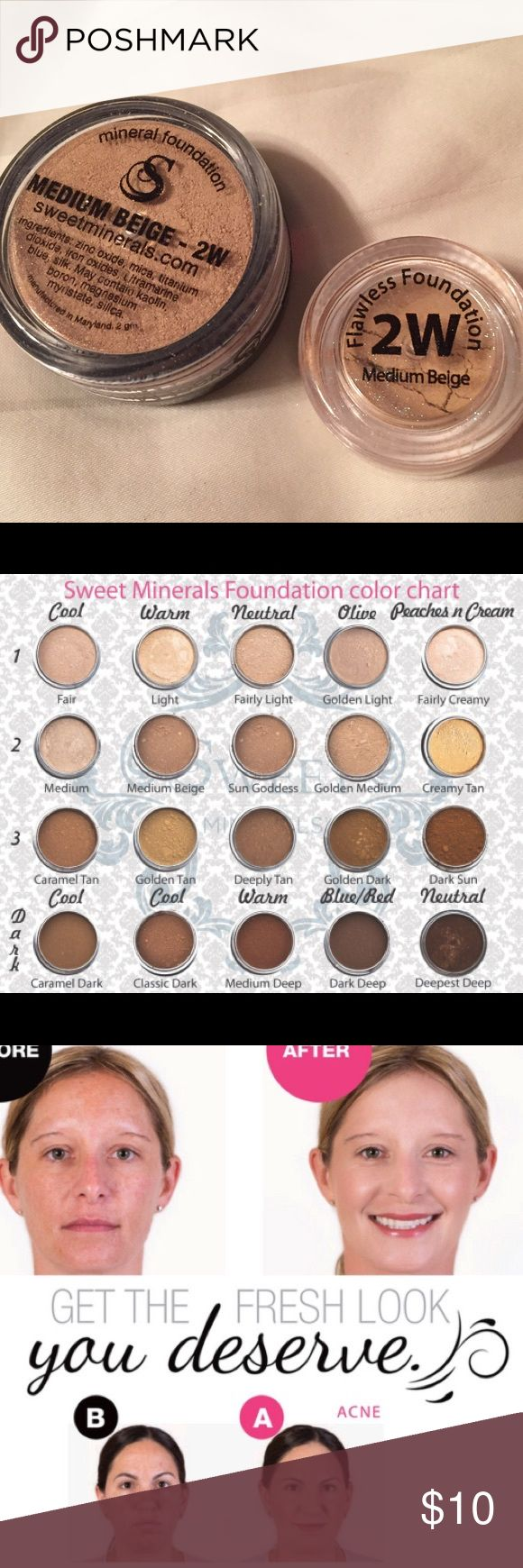 Flawless foundation! Medium complexion, warm tone Flawless foundation!! All natural, not cakey! No fillers like bismuth, talc, and also paraben-free. Cruelty free. Better than Bare Minerals (4 hour wear) and this lasts up 18 hours (or longer)! I've been using this brand for 3 years and I will never switch to anything else. It's never cakey and because there's no bismuth or talc, it's never itchy and it feels light as air. This has the best coverage you'll ever see without feeling heavy…