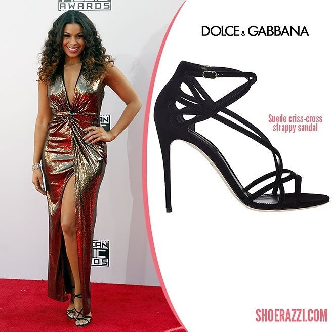 Jordin Sparks wore Dolce & Gabbana sandals to the 2014 American Music Awards held at the Nokia Theatre L.A.