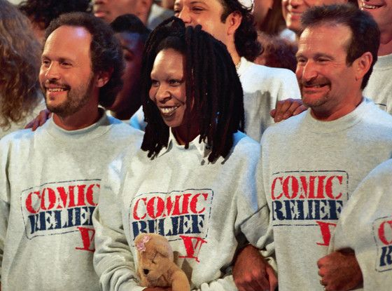 "Billy Crystal and Whoopi Goldberg React in Kind to Robin Williams' Death: ""No Words""  Comic Relief, Robin Williams, Whoopi Goldberg, Billy Crystal"