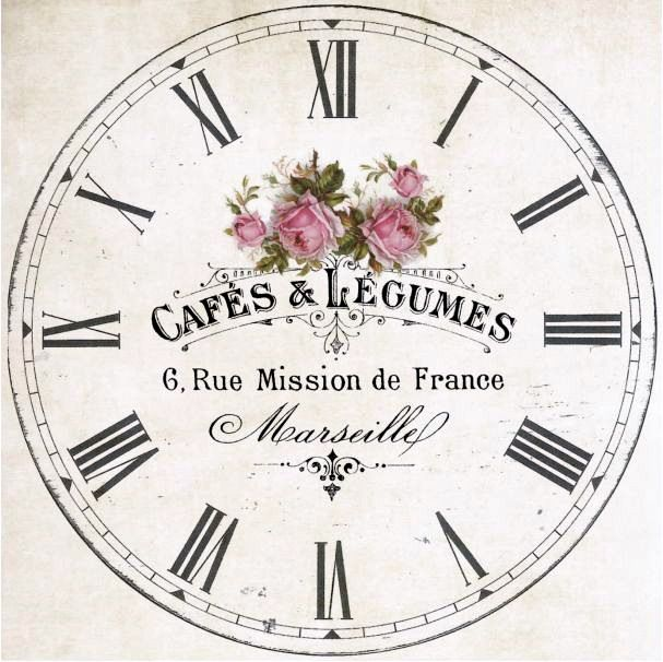 Clock Face With Pink Roses graphic