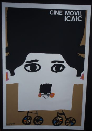 Iconic Cuba Silkscreen Poster w Charlie Chaplin Image for Cuban Movie Campaign | eBay