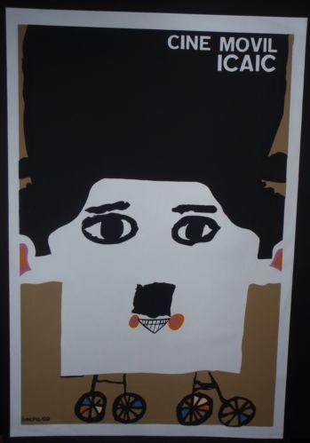 Iconic Cuba Silkscreen Poster w Charlie Chaplin Image for Cuban Movie Campaign | eBay