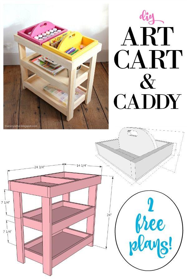 DIY art cart and caddy free plans.  Pottery Barn Kids knock off art cart.
