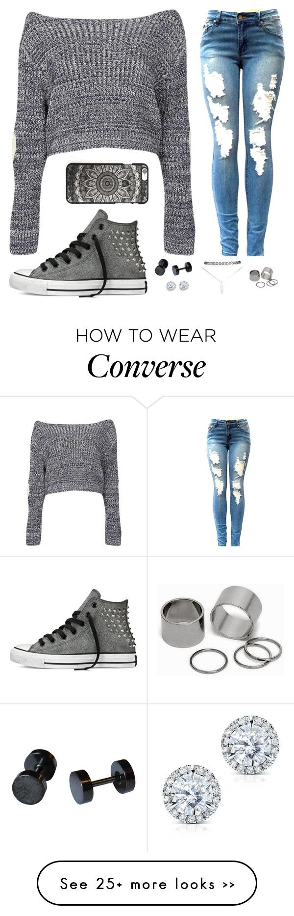 Ive learned... by blonde765 on Polyvore featuring Boohoo, Converse, Wet Seal, Kobelli and Pieces