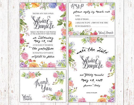 Kit invito matrimonio stampabile stile floreale di luzdesign