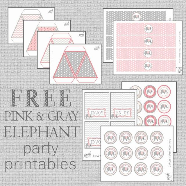 Free Pink Amp Gray Elephant Party Printables For Any