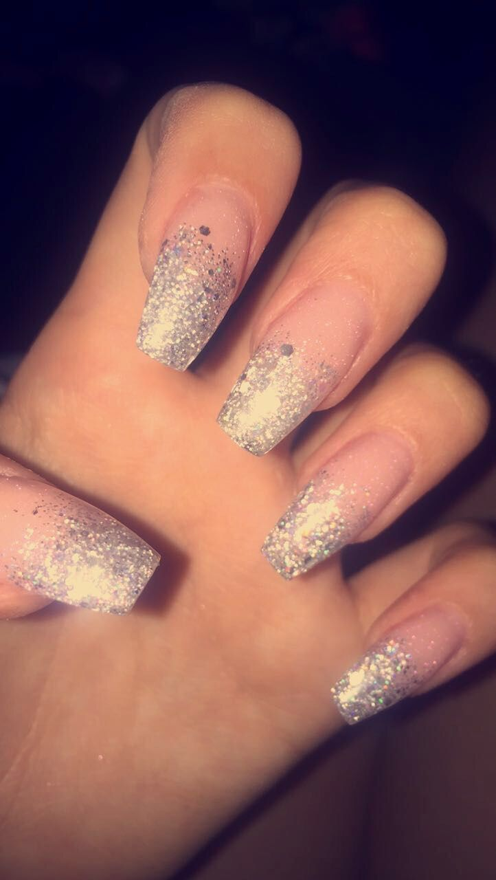 Silver Glitter Ombre Coffin Acrylic Nails Done By Chelsea Barrie Aesthetics Silver Nails Ombre Nails Glitter Silver Glitter Nails