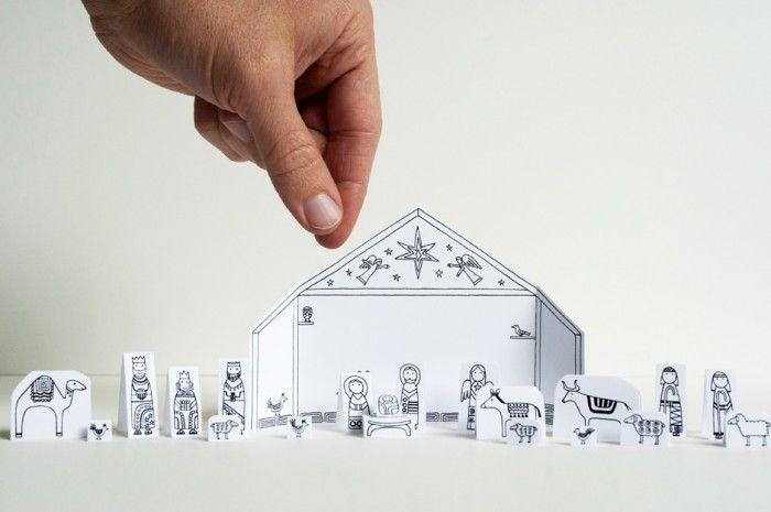 Free printable!  Travel Size Paper City Nativity Scene!