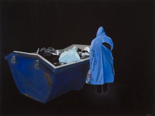 Fehér László: Hajléktalan vacsorája II., 2011, olaj, vászon, 150 x 200 cm, a művész jóvoltából