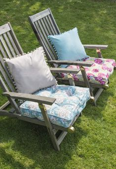 Fabulous cushions and seat pads to add a touch of colour to your garden furniture this summer!