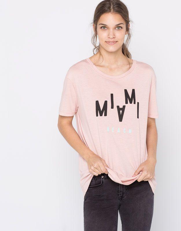 Pull&Bear - donna - magliette - maglietta print - rosa chiaro - 09237324-I2016