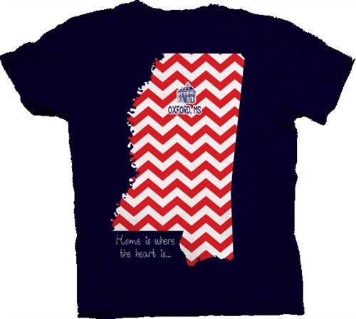 Southern Belle Mississippi Ole Miss Home is Where the Heart is Chevron Girlie Bright T Shirt