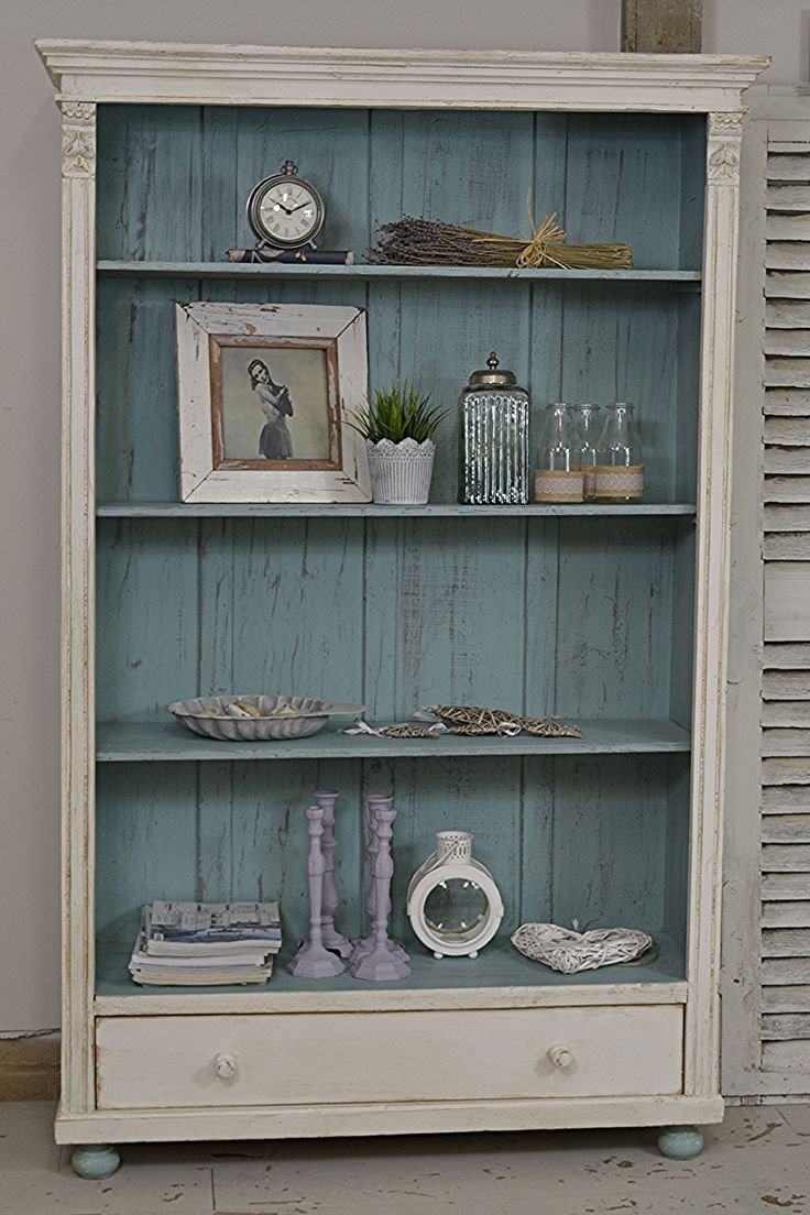 #letstrove This rustic Dutch bookcase will add plenty of character to any room! We've painted in Valspar Blanc de Blancs with Farrow & Ball Dix Blue over grey and lightly distressed and aged with dark wax. https://www.thetreasuretrove.co.uk/cabinets-and-storage/rustic-shabby-chic-dutch-bookcase #farrowandballdixblue #shabbychic
