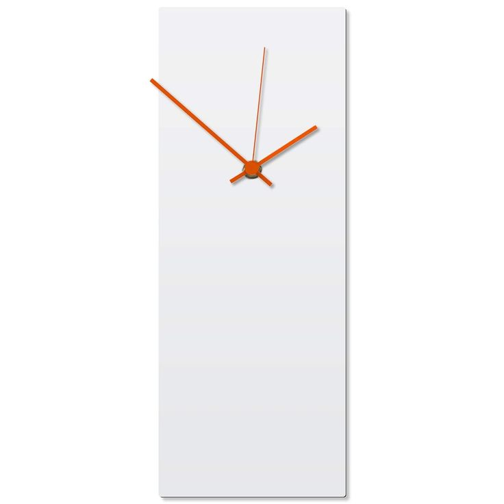 Adam Schwoeppe 'Whiteout Orange Clock' 6in x 16in Contemporary Clock on Aluminum Polymetal, White