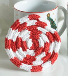 KNITTING: Christmas Crafts, Knitting Patterns, Loom Knits, Knitting Crochet, Knits Patterns, Kids Crafts, Peppermint Coasters, Candy Canes, Crochet Patterns