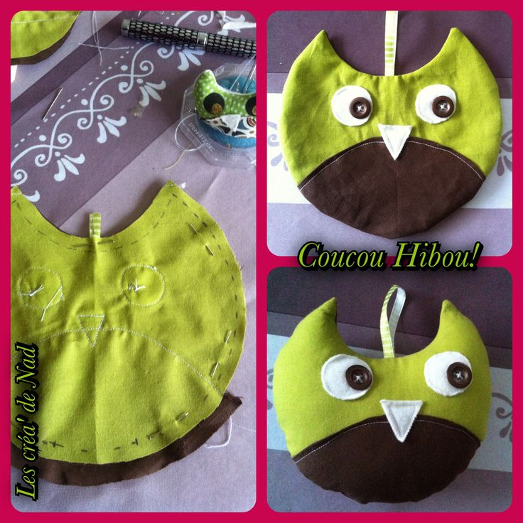 DIY Doudou hibou vert et marron, Le tuto c'est par là => http://futmma.canalblog.com/archives/2013/08/17/27849418.html Owl Green and Brown