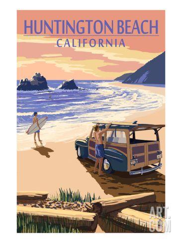 Huntington Beach, California - Woody on Beach Art Print by Lantern Press at Art.com