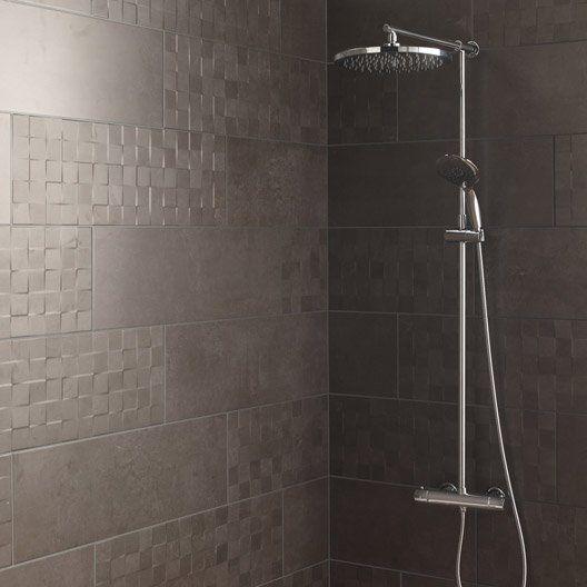 faience_mur_gris_fonce__decor_vision_cube_l_25_x_l_75_cm_structuré_pour bande colonne douche