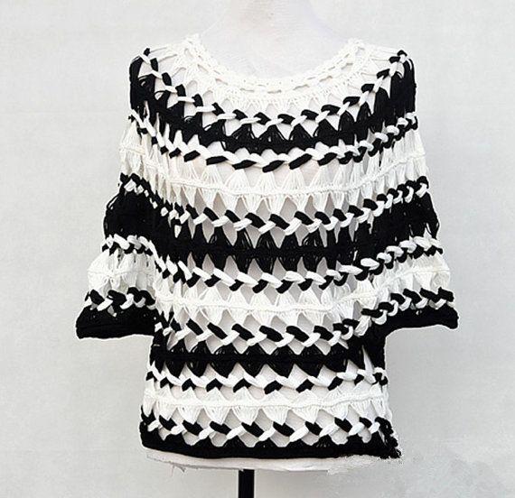 Blanco y negro rayas túnica pura blusa horquilla Crochet blusa de verano para mujeres de tallas grandes