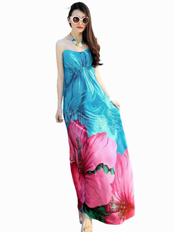 Multi colore senza spalline stampa floreale Abito Maxi che modella per donna - Milanoo.com