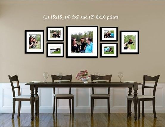 i like the arrangement of larger pictures with the same frames above dining room table frames ideaswall. Interior Design Ideas. Home Design Ideas