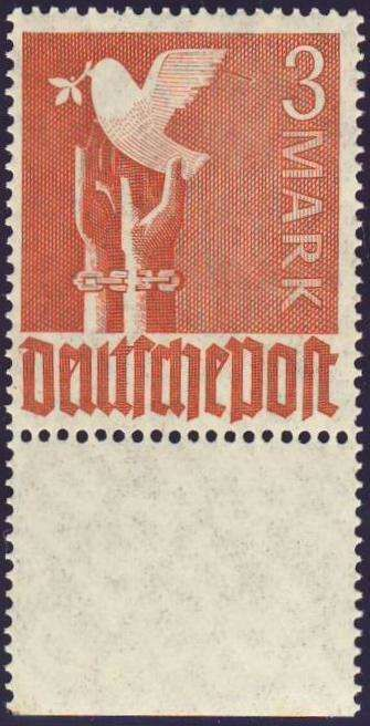 """Germany, Joint Issue, Alliierte Besetzung 1947, Friedenstaube, 3 Mk. mit Plattenfehler """"Ast am Flügel"""", postfrisch Pracht (postfr., Mi.-Nr.961I, Mi.EUR 120,--). Price Estimate (8/2016): 30 EUR."""