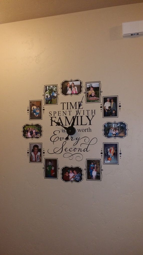 CL205 Family clock for 4 x 6 photos wall art by vinyl4decor
