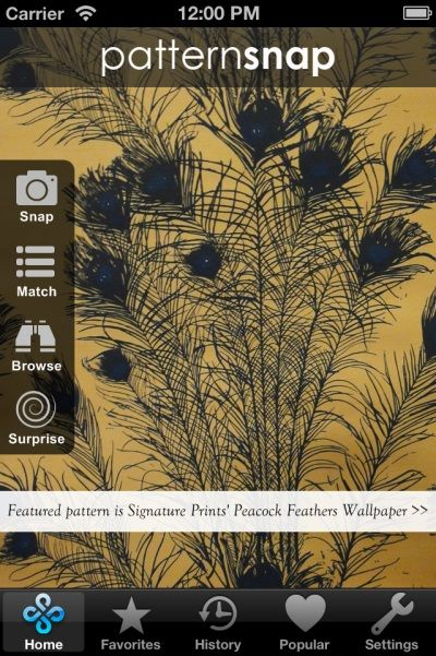Today's Featured pattern is Signature Prints' 'Peacock Feathers' Wallpaper
