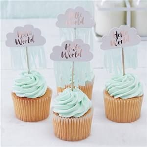 🎉 JUST ADDED - Itty Bitty Baby Shower Hello World Rose Gold Cupcake Picks 👶  VIEW HERE: