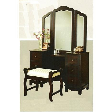 ACM 3 Pc Espresso Finish Wood Large Size Bedroom Make Up Vanity Set With Tri   . Tri Fold MirrorVanity ...