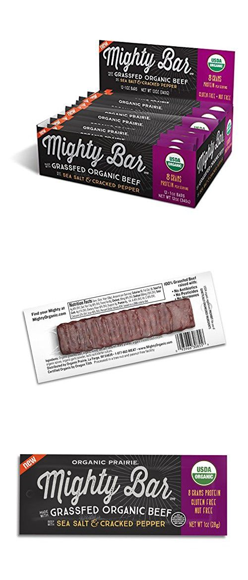Mighty Organic Beef Bar, 100% Grassfed Beef, Paleo, Gluten Free, Sea Salt and Cracked Pepper, 1 oz (Pack of 12)