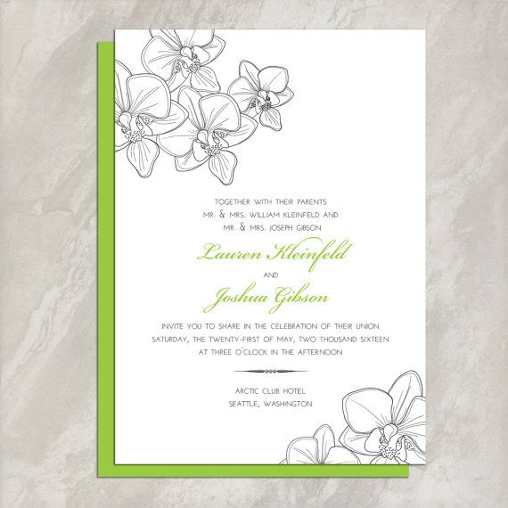 DIY Printable - Orchid Wedding Invitation and Reply Card Set