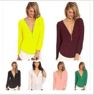 2015 Zipper Hlboké V Neck Ženy Blúzky Veľkosť S XXL Blusas Femininas Sexy šifón Ženy Shirt Tops-in Blúzky a košele od Dámske oblečenie a doplnky na Aliexpress.com | Alibaba Group