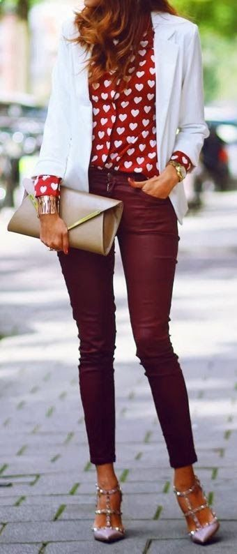 THE FASHION BOMB: Love this Outfit red pants Cool party mini skirt with glitter heels Teen fashion Cute Dress! Clothes Casual Outift for  teens  movies  girls  women . summer  fall  spring  winter  outfit ideas  dates  school  parties