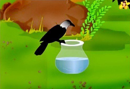 Learn how the thirsty crow solved its problem.  A moral story in English for children, with pictures.
