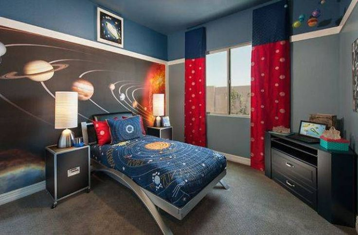 Bedroom themes for boys room outerspace boys room theme home sweet home pinterest boy - Boys basement bedroom ...