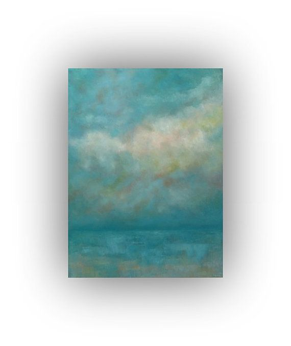 Oil Painting- Abstract Landscape- Ocean Painting on Canvas- Large 30 x 40 Turquoise Cloud and Sky Original Palette Knife Art