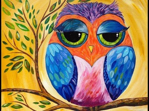 Colorful Owl | Acrylic Painting Lesson for Beginners - YouTube