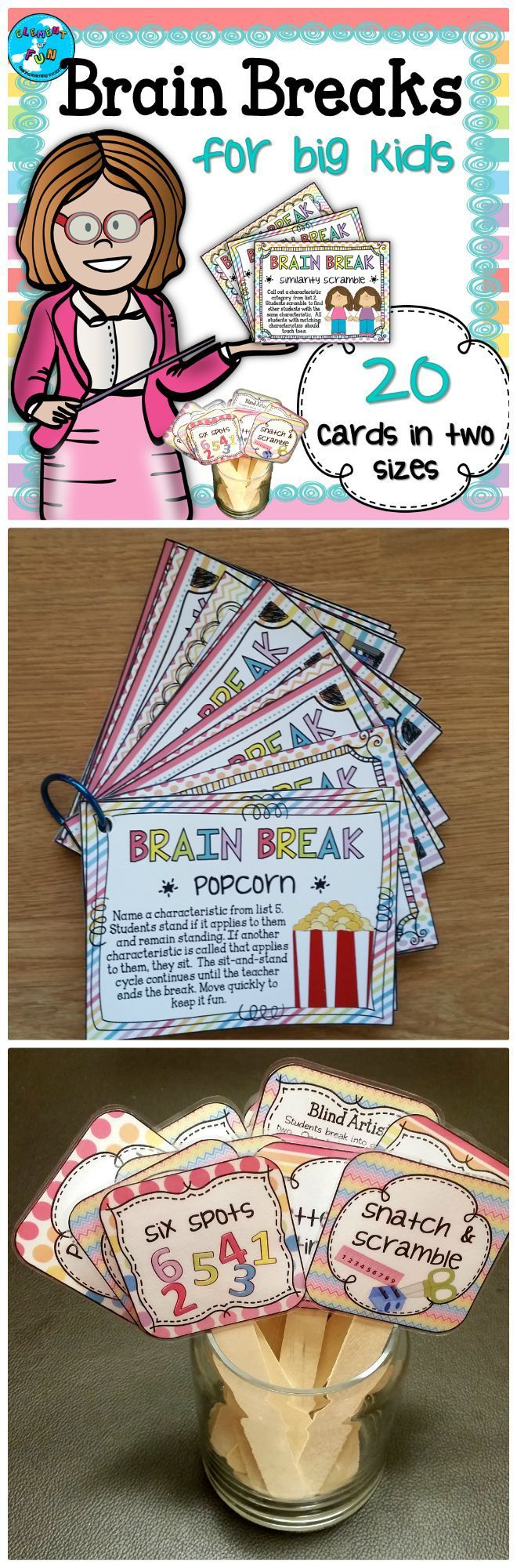 These upper elementary and middle school brain break cards provide ideas for quick and easy activities that will be a lifesaver for classroom management! Each brief challenge will take five minutes or less and will help renew your students� energy while a