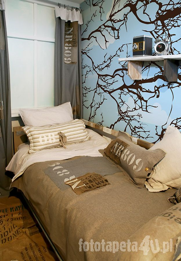 Children bedroom in military style with tree wallpaper  By Fototapeta4u pl. Best 25  Military bedroom ideas on Pinterest   Army room  Boys