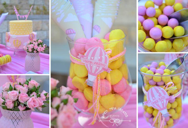 hot air balloon candy bar details / βάπτιση αερόστατο για κοριτσάκι