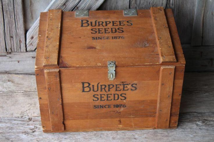 Burpee's Seeds W.Atlee Burpee Co hinged wood seed box shipping crate gardening #WAtleeBurpeeCo