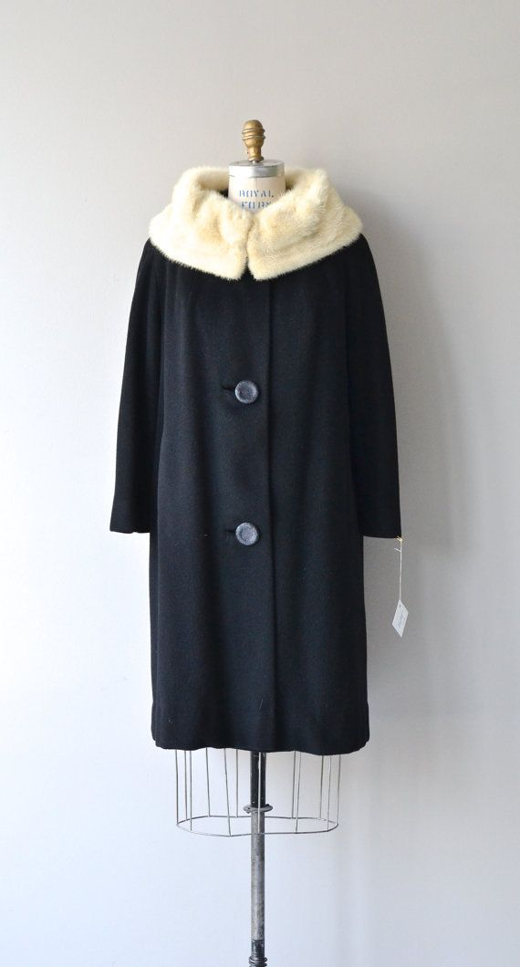 Cashmere and Mink coat vintage 1950s coat black by DearGolden