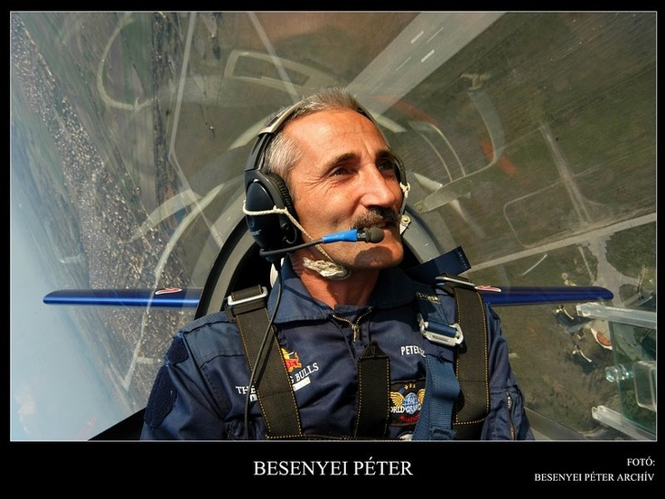 Peter Besenyei is a world-famous aerobatic pilot. He grew up near Budaörs airfield outside Budapest, started flying (gliders) at age 15, and went on to get his pilot's license before his driving license! He has been flying for 25 years as a test pilot, flying instructor and air-race contenstant, and has over 7000 hours in various types of aircraft.