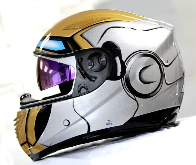 MASEI 830 IRON MAN DOT ECE MOTORCYCLE BIKE HELMET SILVER M L XL